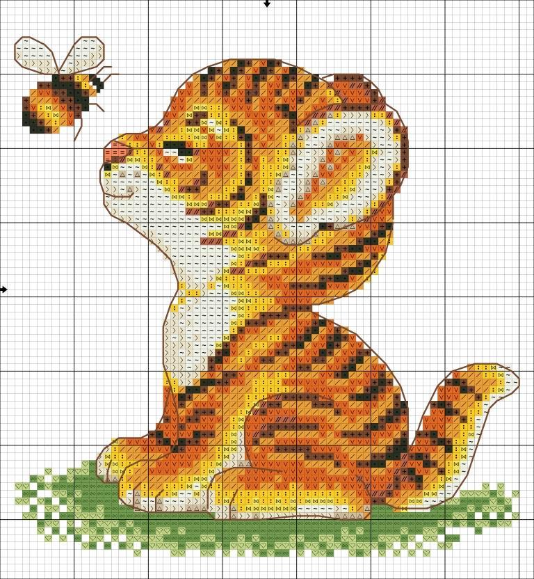 Вышивка для начинающих схемы животные 951